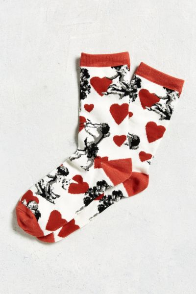 Cupid Hearts Sock - White One Size at Urban Outfitters