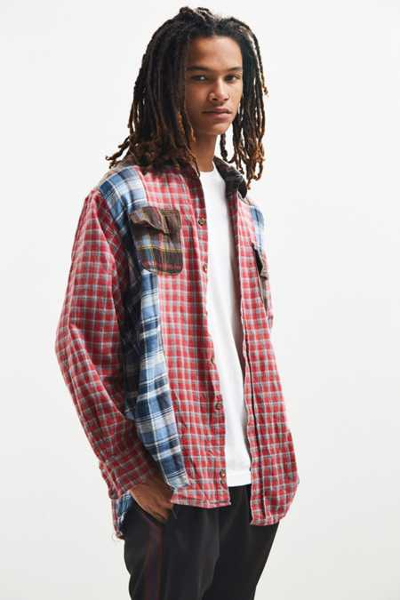 Vintage Patchwork Plaid Flannel Button-Down Shirt