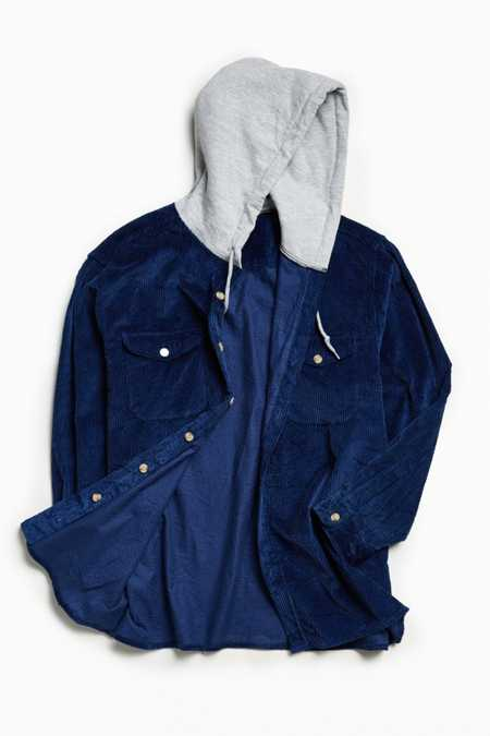 Vintage Corduroy Hooded Button-Down Shirt