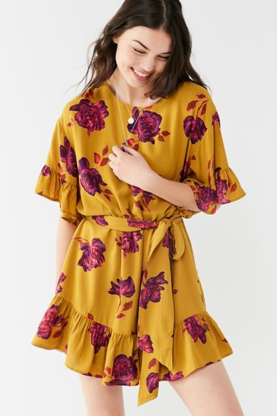 UO Suddenly Spring Ruffle Tie Dress - Chartreuse XS at Urban Outfitters