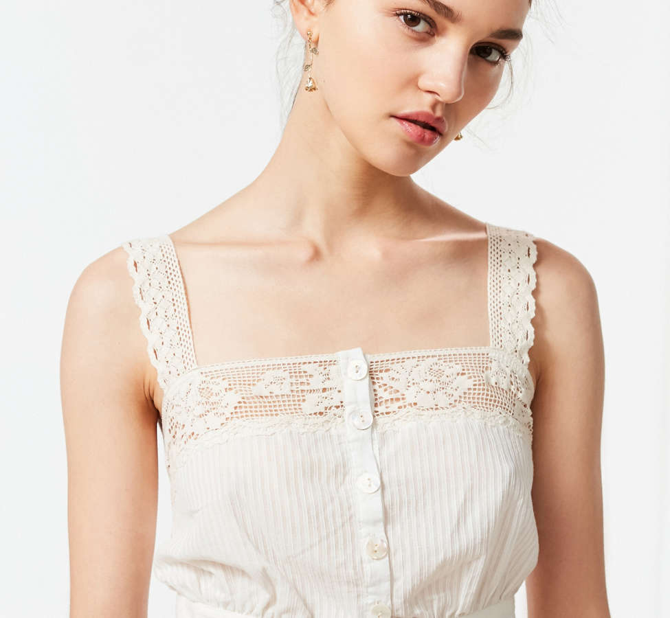 Slide View: 3: UO Jilly Ann Button-Down Lace Cami