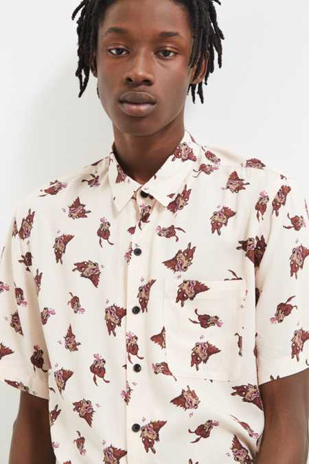 UO Wolf Mania Rayon Short Sleeve Button-Down Shirt