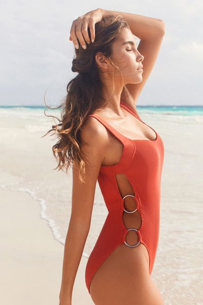 Out From Under Nikki Double Ring One-Piece Swimsuit - Coral S at Urban Outfitters