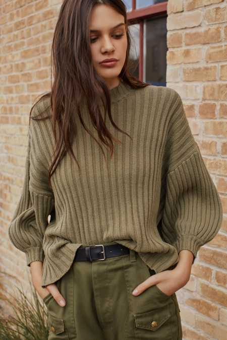UO Lou Mock-Neck Pullover Sweater