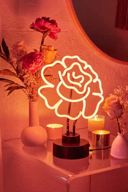 Cabbage Rose Neon Sign Table Lamp