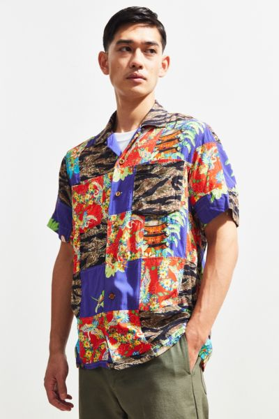 Polo Ralph Lauren Tiger Patchwork Rayon Short Sleeve Button Down Shirt by Polo Ralph Lauren