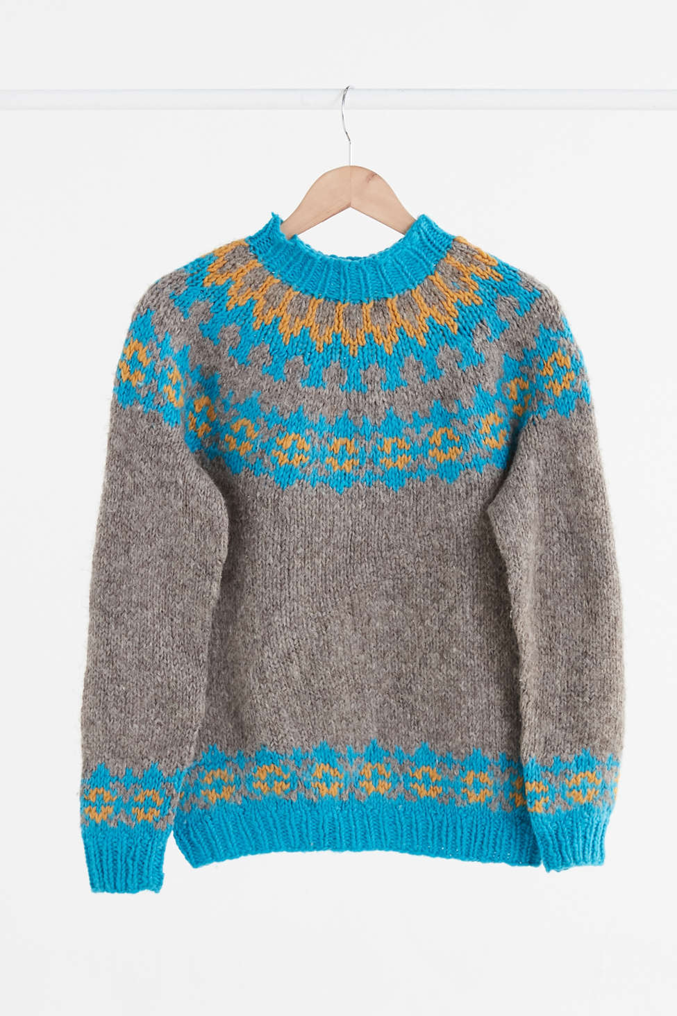 Vintage Grey   Blue Fair Isle Ski Sweater | Urban Outfitters Canada