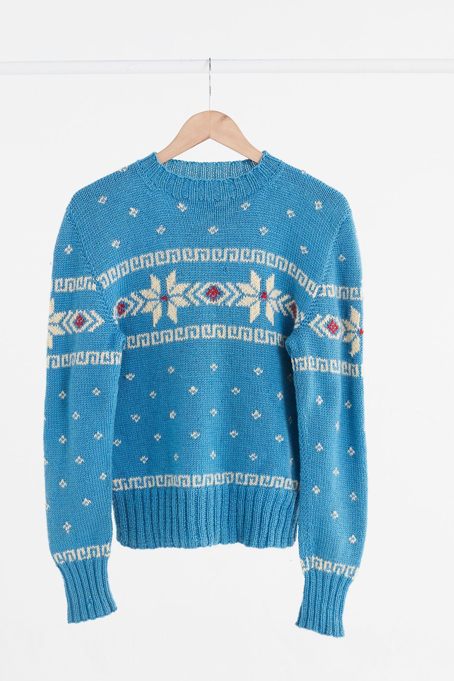 4878091eae Vintage Turquoise Fair Isle Ski Sweater