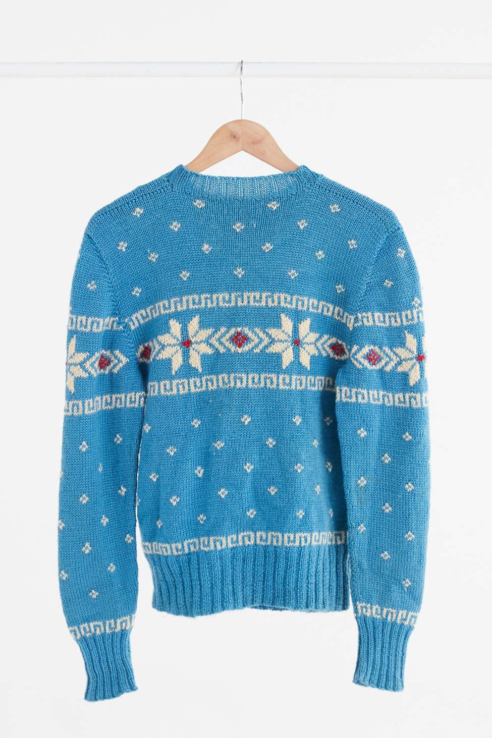 Vintage Turquoise Fair Isle Ski Sweater | Urban Outfitters Canada