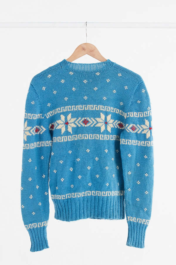 Vintage Turquoise Fair Isle Ski Sweater | Urban Outfitters Canada