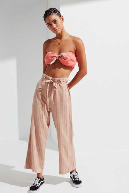 UO Tie-Belt Striped Culotte Pant