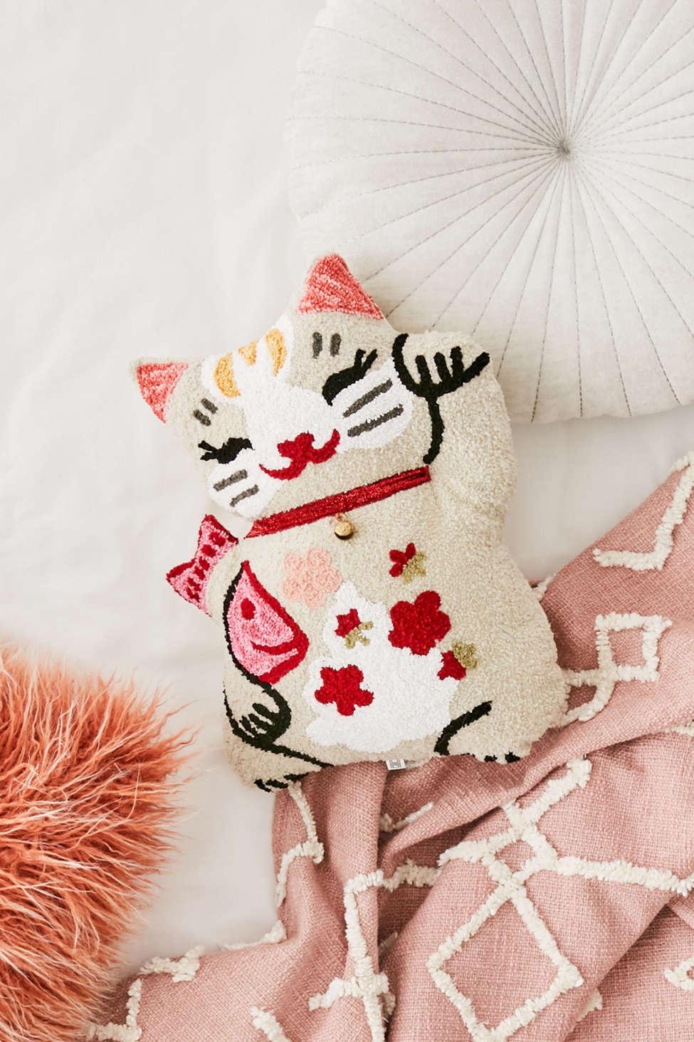 Slide View: 1: Lucky Cat Throw Pillow