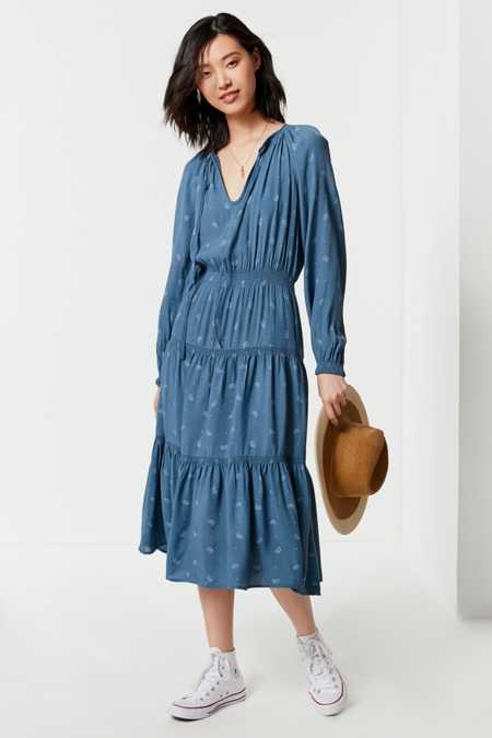 UO Reese Tiered Smocked Midi Dress
