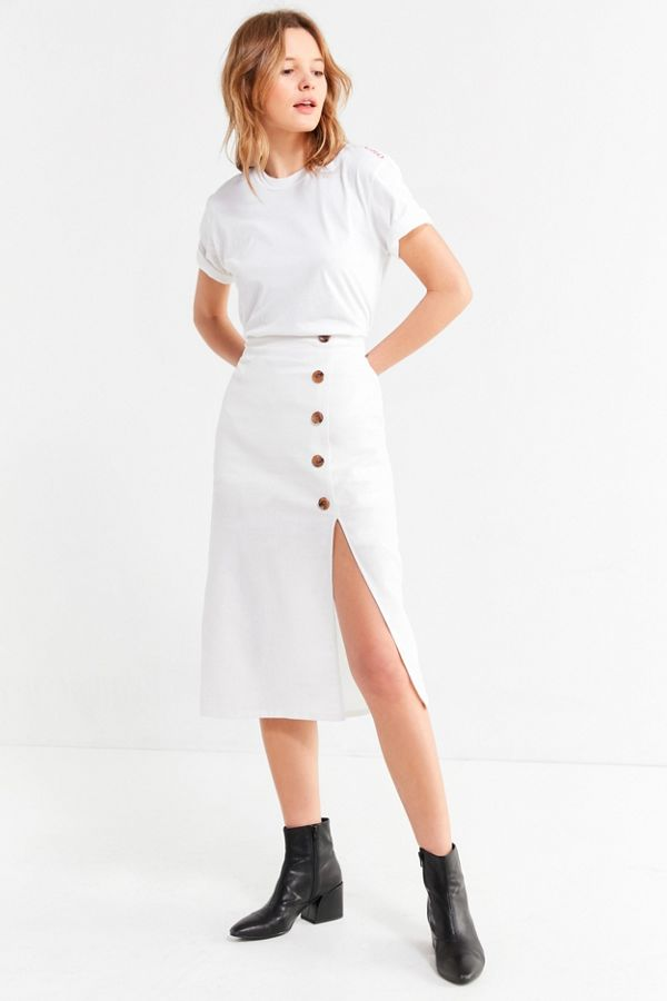 Famous BOG Collective Button-Down Linen Midi Skirt | Urban Outfitters QV46