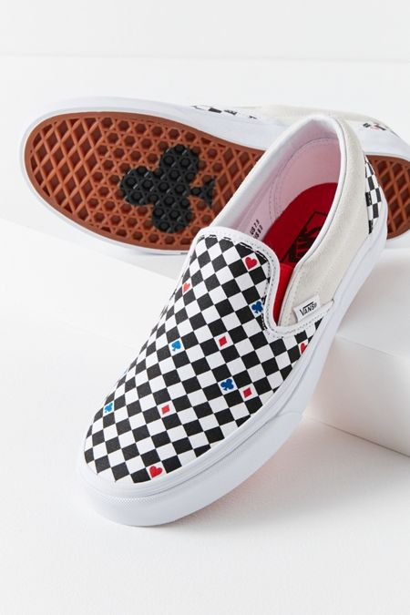 vans red and black checkerboard slip ons