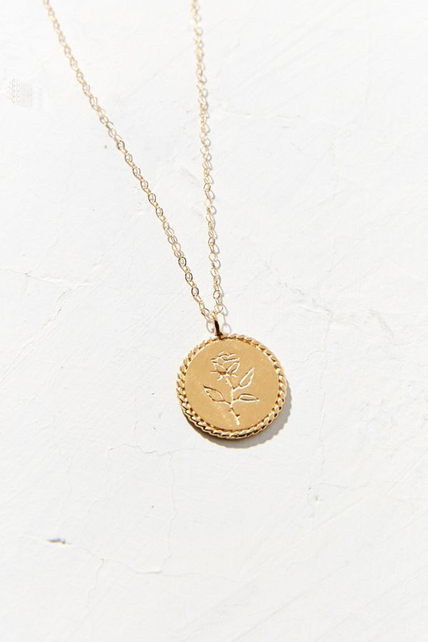 Wolf circus rose coin pendant necklace urban outfitters slide view 2 wolf circus rose coin pendant necklace mozeypictures Images