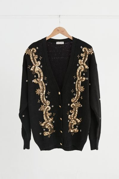 Vintage Gold Sequin Embellished Cardigan Sweater - Assorted One Size at Urban Outfitters