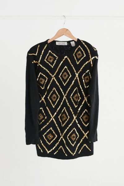 Vintage Black Sequin Embellished Sweater - Assorted One Size at Urban Outfitters