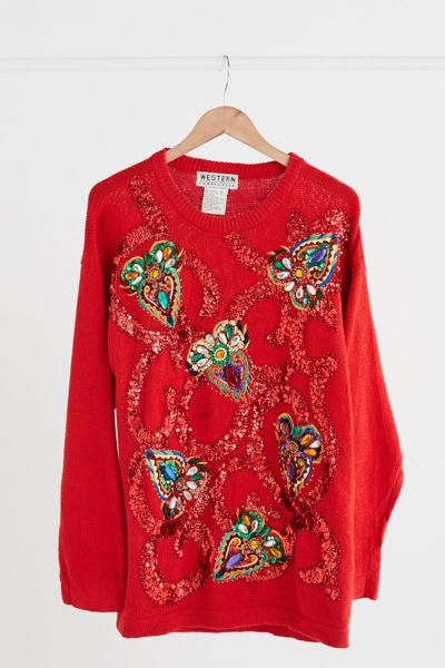 Vintage Red Sequin Embellished Sweater - Assorted One Size at Urban Outfitters