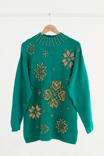 Vintage Gold Beaded Green Sweater - Assorted One Size at Urban Outfitters