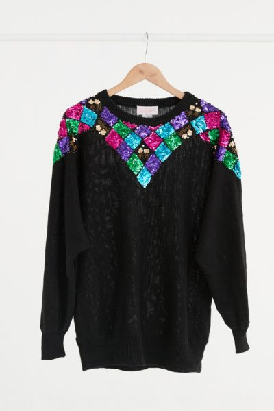 Vintage Colorful Sequin Sweater - Assorted One Size at Urban Outfitters