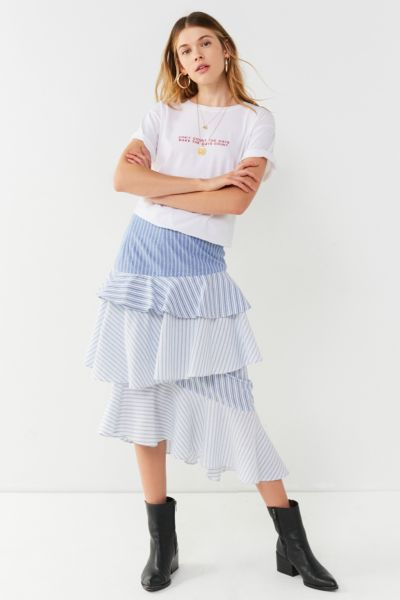 UO Laura Tiered Ruffle Midi Skirt - Blue XS at Urban Outfitters
