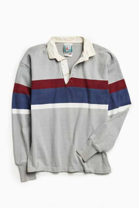 Vintage Thatcher And Cross Grey Stripe Rugby Shirt