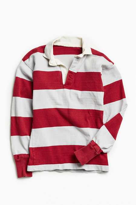 Vintage Grey + Raspberry Stripe Rugby Shirt
