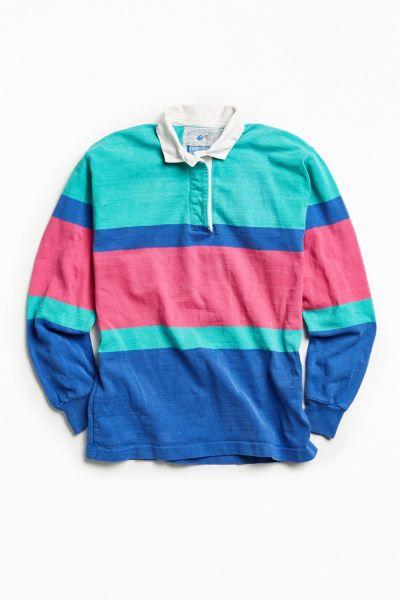 Vintage Lands' End Colorful Blue Multi Stripe Rugby Shirt - Turquoise M at Urban Outfitters