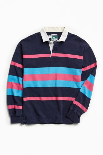 Vintage McIntosh & Seymour Stripe Rugby Shirt - Blue Multi M at Urban Outfitters