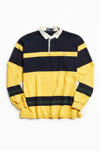 Vintage Polo Ralph Lauren Stripe Rugby Shirt - Dark Yellow L at Urban Outfitters