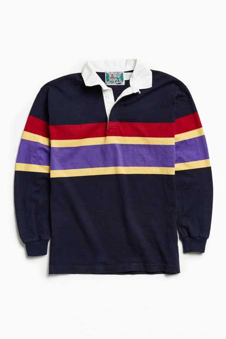 Vintage Columbia Multi Chest Stripe Knit Rugby Shirt