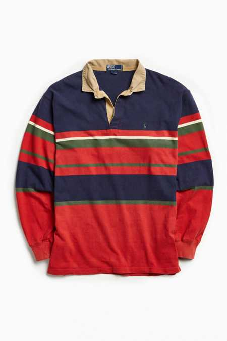Vintage Polo Ralph Lauren Muted Navy Stripe Rugby Shirt