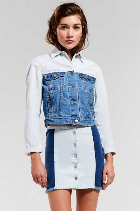 Tach Clothing Button-Down Denim Skirt
