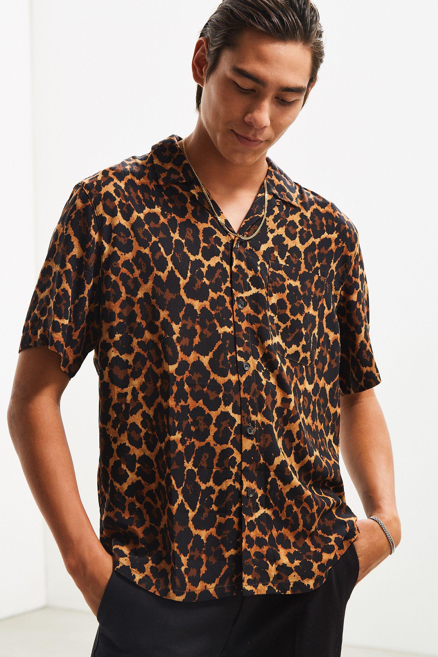 Mens Animal Print On Down Shirt