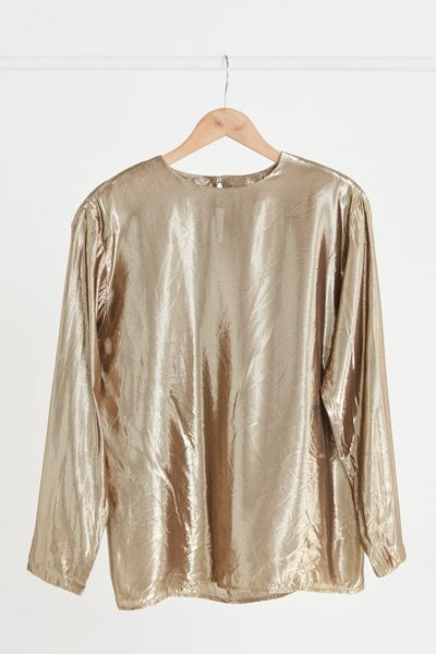 Vintage Gold Shimmer Long Sleeve Top - Assorted One Size at Urban Outfitters