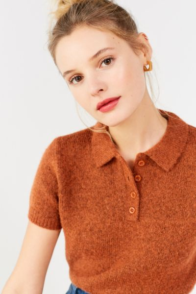 UO Shrunken Fuzzy Polo Sweater - Rust XS at Urban Outfitters
