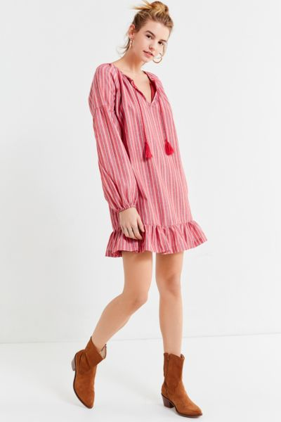UO Striped Tassel Tunic Dress - Red Multi XS at Urban Outfitters