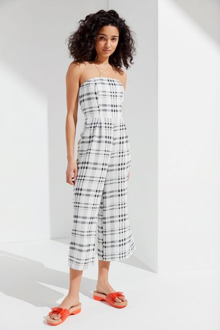 4d07126dab TWIIN Incite Strapless Plaid Jumpsuit