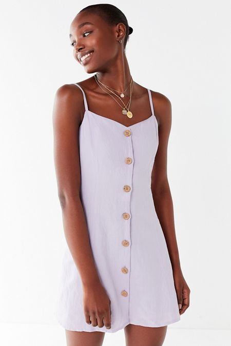 UO Button-Down Strappy Back Linen Dress