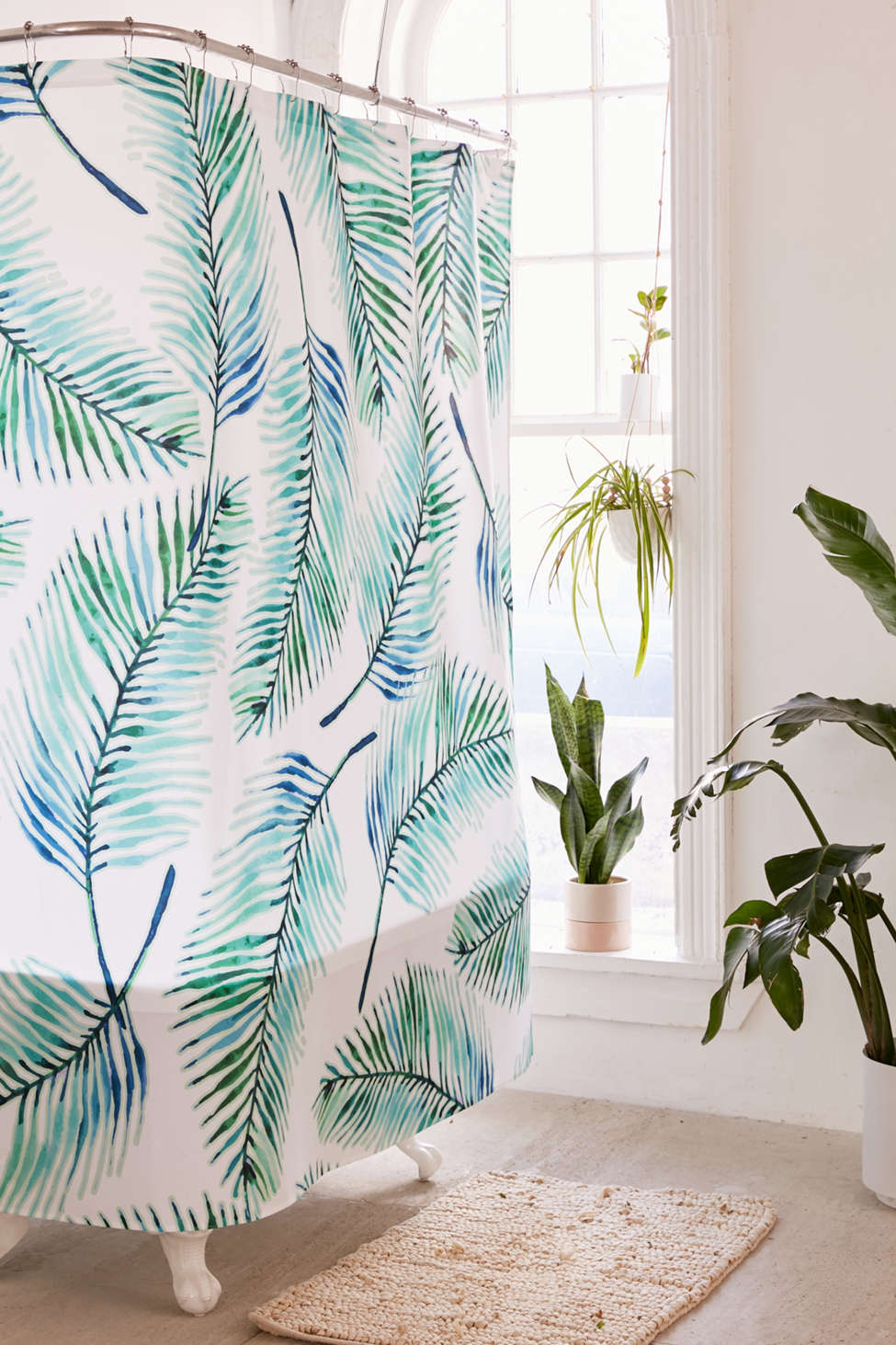 Slide View: 1: 83 Oranges For Deny Watercolor Palms Shower Curtain