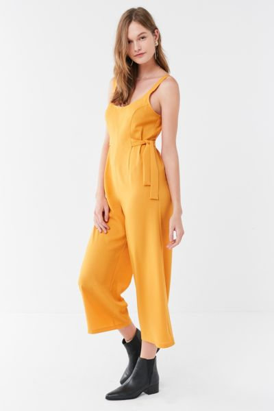 UO Side-Tie Culotte Jumpsuit - Mustard XS at Urban Outfitters