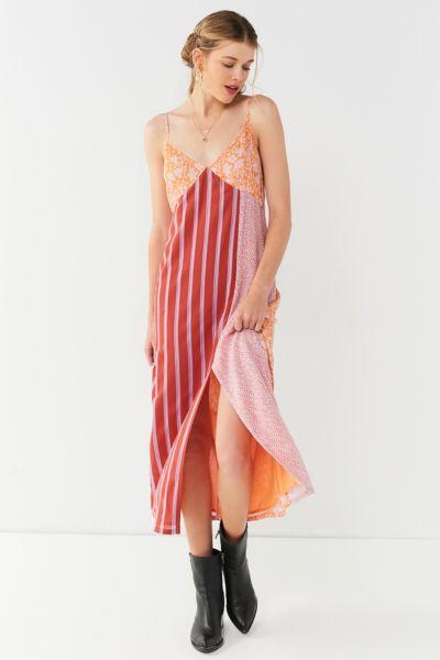UO Ava High-Slit Midi Slip Dress - Bright Orange XS at Urban Outfitters