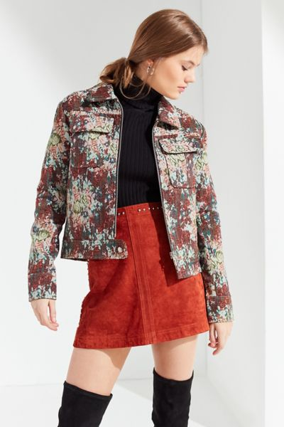 UO Floral Jacquard Bomber Jacket - Floral Multi XS at Urban Outfitters