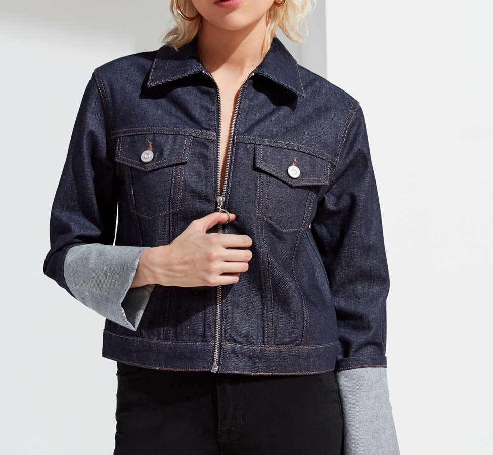 Slide View: 6: UO Zipper Denim Jacket