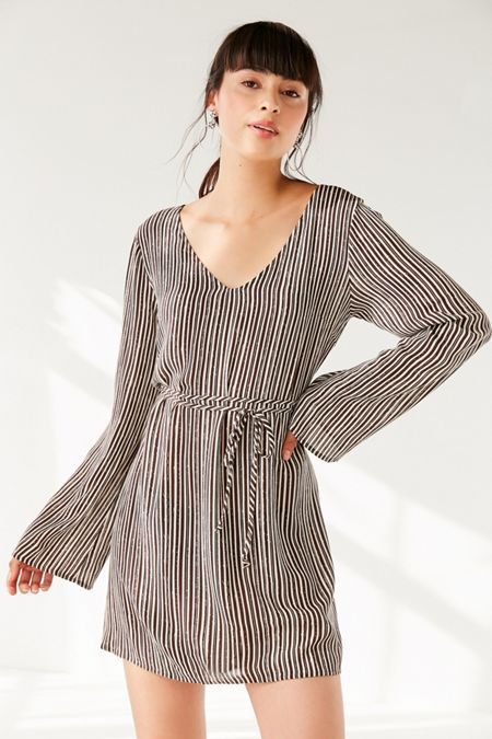 UO V-Neck Bell-Sleeve Mini Dress