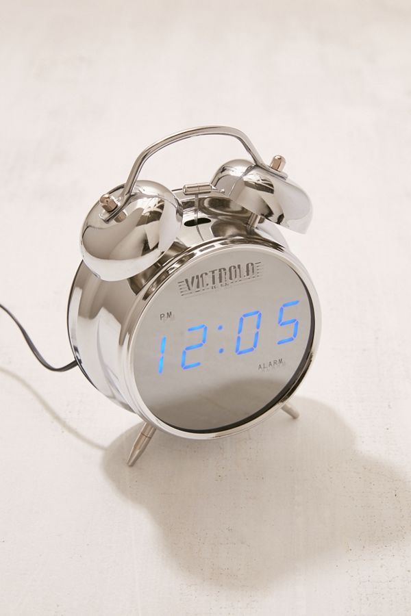 Slide View 1 Victrola Retro Chrome Digital Alarm Clock