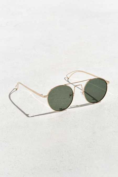 Squared Bridge Metal Round Sunglasses