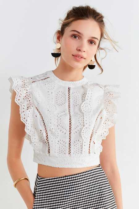 ASTR Connie Lace Cropped Top