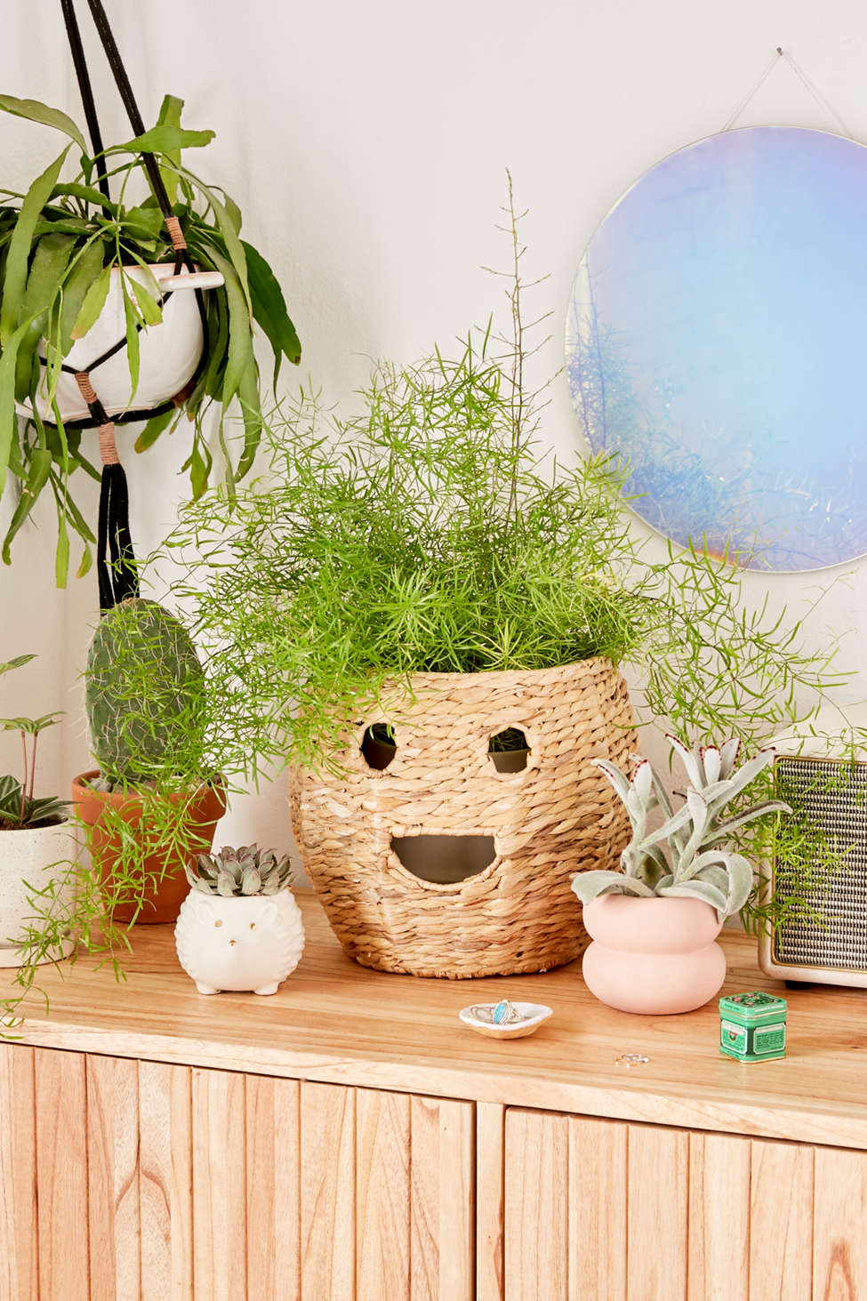 Slide View: 1: Happy Woven Rattan Planter Cover